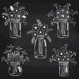 Άσπρα λουλούδια πινάκων κιμωλίας Στοκ Φωτογραφίες