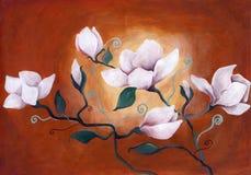 Άσπρα λουλούδια στο σύγχρονο ύφος Στοκ Εικόνα