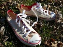 Άσπρα παπούτσια αντισφαίρισης στη χλόη Στοκ Εικόνες