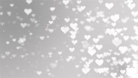 Άσπρα πετώντας καρδιές και μόρια ημέρας βαλεντίνων ` s Αφηρημένο υπόβαθρο Loopable απεικόνιση αποθεμάτων