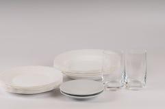 Άσπρα πιάτα αεροπλάνων στο άσπρο υπόβαθρο Στοκ εικόνες με δικαίωμα ελεύθερης χρήσης