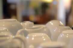 Άσπρα πιάτα καφέ Στοκ Εικόνες