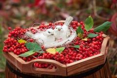 Άσπρα πουλιά κεραμικής αγάπης και μούρα τέφρας βουνών κόκκινος τρύγος ύφους κρίνων απεικόνισης Στοκ εικόνα με δικαίωμα ελεύθερης χρήσης
