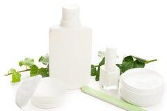 Άσπρα προϊόντα ομορφιάς Στοκ Φωτογραφίες