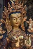 Άσπρα πρόσωπο και χέρι αγαλμάτων της Tara Βούδας στοκ φωτογραφία