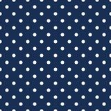 Άσπρα σημεία Πόλκα στο μπλε ναυτικό υπόβαθρο διανυσματική απεικόνιση