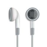 Άσπρα στερεοφωνικά ακουστικά βουλωμάτων ελεύθερη απεικόνιση δικαιώματος