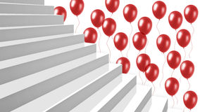 Άσπρα στιλπνά σκαλοπάτια κινηματογραφήσεων σε πρώτο πλάνο με τα κόκκινα μπαλόνια στο υπόβαθρο Στοκ εικόνα με δικαίωμα ελεύθερης χρήσης