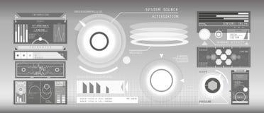 Άσπρα στοιχεία HUD καθορισμένα Στοκ εικόνα με δικαίωμα ελεύθερης χρήσης