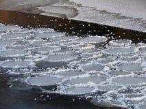 Άσπρα στρογγυλά κομμάτια πάγου στο ρεύμα ποταμών, Λιθουανία Στοκ φωτογραφία με δικαίωμα ελεύθερης χρήσης