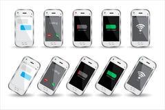 Άσπρα τηλέφωνα κυττάρων πέρα από το άσπρο υπόβαθρο διανυσματική απεικόνιση