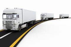 Άσπρα φορτηγά στον αυτοκινητόδρομο η τρισδιάστατη απεικόνιση δίνει Στοκ φωτογραφίες με δικαίωμα ελεύθερης χρήσης