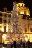 Άσπρα φω'τα στο χριστουγεννιάτικο δέντρο στο Τορίνο Στοκ φωτογραφία με δικαίωμα ελεύθερης χρήσης