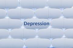 Άσπρα χάπια με την κατάθλιψη ` λέξης ` Στοκ Φωτογραφίες