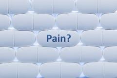 Άσπρα χάπια με τον πόνο ` λέξης ` Στοκ Φωτογραφίες