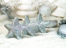Άσπρα Χριστούγεννα - αστέρια Χριστουγέννων - διακόσμηση Χριστουγέννων Στοκ Εικόνες