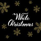 Άσπρα Χριστούγεννα! Συρμένα χέρι γραφικά στοιχεία και εγγραφή στα χρυσά/μαύρα χρώματα Στοκ Εικόνες