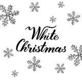 Άσπρα Χριστούγεννα! Συρμένες χέρι γραφικές στοιχεία και εγγραφή Στοκ Φωτογραφίες
