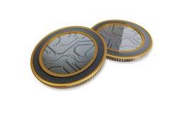 Άσπρα ψηφιακά ανώτατα νομίσματα Στοκ φωτογραφία με δικαίωμα ελεύθερης χρήσης