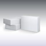 Άσπρα cardboards προϊόντων, πρότυπο κιβωτίων συσκευασίας Στοκ Φωτογραφίες