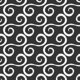 Άσπρα curlicues που σύρονται με μια τραχιά βούρτσα Μαύρη ανασκόπηση πρότυπο άνευ ραφής απεικόνιση αποθεμάτων