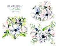 Άσπρες ανθοδέσμες λουλουδιών anemone Watercolor Στοκ φωτογραφία με δικαίωμα ελεύθερης χρήσης