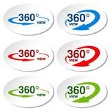 Άσπρες αυτοκόλλητες ετικέττες για τον εικονικό γύρο, ωοειδείς ετικέτες με το μπλε, κόκκινο, πράσινο βέλος και με το κείμενο 360 κ Στοκ φωτογραφία με δικαίωμα ελεύθερης χρήσης