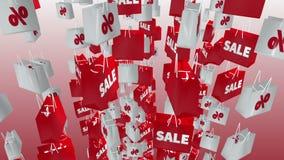 Άσπρες και κόκκινες τσάντες αγορών με την επιγραφή πώλησης και τοις εκατό διανυσματική απεικόνιση