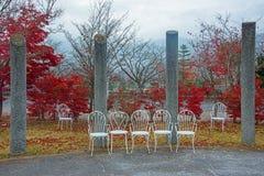 άσπρες καρέκλες στον κήπο με τα κόκκινα φύλλα φθινοπώρου Στοκ Φωτογραφία