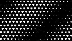 Άσπρες καρδιές Πόλκα που κυματίζουν την κίνηση ελεύθερη απεικόνιση δικαιώματος