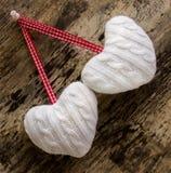 Άσπρες καρδιές madey Στοκ Εικόνα