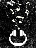 Άσπρες μουσικές νότες παιχνιδιών ακουστικών, διάνυσμα ελεύθερη απεικόνιση δικαιώματος