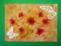 Άσπρες πεταλούδες. Κοπή εγγράφου. Στοκ Φωτογραφίες