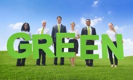 Άσπρες πράσινες επιχειρησιακές έννοιες επιχειρηματιών Στοκ Εικόνα
