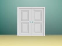 Άσπρες πόρτες διπλός-φτερών Στοκ Φωτογραφίες