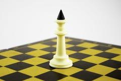 Άσπρες στάσεις βασιλιάδων σκακιού στα πλαίσια μιας σκακιέρας στοκ φωτογραφία με δικαίωμα ελεύθερης χρήσης