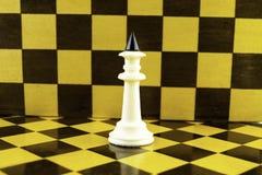Άσπρες στάσεις βασιλιάδων σκακιού στα πλαίσια μιας σκακιέρας στοκ φωτογραφίες