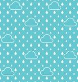 Άσπρες σταγόνες βροχής και άσπρο υπόβαθρο σχεδίων σύννεφων διανυσματικό Στοκ εικόνα με δικαίωμα ελεύθερης χρήσης