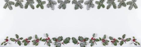 Άσπρη άποψη εμβλημάτων υποβάθρου Χριστουγέννων με το δέντρο καρφιτσών, τον κλάδο και τη διακόσμηση μούρων ελαιόπρινου Στοκ Εικόνα