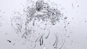 Άσπρη έκρηξη καρδιών, τρισδιάστατη ζωτικότητα απόθεμα βίντεο