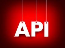 Άσπρη λέξη API στο κόκκινο υπόβαθρο νέο έτος απεικόνισης Στοκ φωτογραφία με δικαίωμα ελεύθερης χρήσης