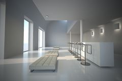 Άσπρη αίθουσα εκθέσεως Στοκ Εικόνα