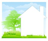 άσπρη αυλή σπιτιών ανασκόπησης διανυσματική απεικόνιση