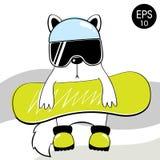 Άσπρη γάτα με το σνόουμπορντ Snowboarder επίσης corel σύρετε το διάνυσμα απεικόνισης Στοκ φωτογραφία με δικαίωμα ελεύθερης χρήσης