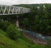 Άσπρη γέφυρα χάλυβα που διασχίζει έναν ποταμό Στοκ φωτογραφίες με δικαίωμα ελεύθερης χρήσης
