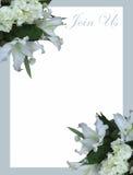 Άσπρη γαμήλια πρόσκληση κρίνων βουνών στοκ φωτογραφίες