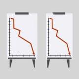 Άσπρη γραφική παράσταση μείωσης πινάκων Στοκ φωτογραφίες με δικαίωμα ελεύθερης χρήσης