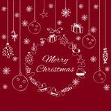 Άσπρη διακοσμητική Χαρούμενα Χριστούγεννα εμβλημάτων στο κόκκινο υπόβαθρο Ελεύθερη απεικόνιση δικαιώματος
