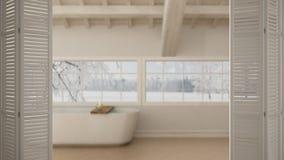 Άσπρη διπλώνοντας πόρτα που ανοίγει στο Σκανδιναβικό λουτρό, σοφίτα με την μπανιέρα, άσπρο εσωτερικό σχέδιο, έννοια σχεδιαστών αρ στοκ εικόνα με δικαίωμα ελεύθερης χρήσης