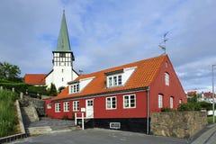 Άσπρη εκκλησία σε Ronne, Bornholm Στοκ Φωτογραφία